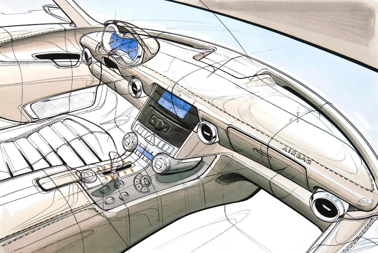 Mercedes benz sls amg interior design sketch 1 lg dlorto for Car interior decoration